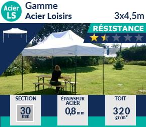 Barnum pliant - Abri pliable Acier Loisirs 3mx4,5m 1er prix
