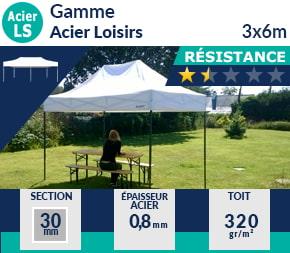 Barnum pliant - Abri pliable Acier Loisirs 3mx6m entrée de gamme
