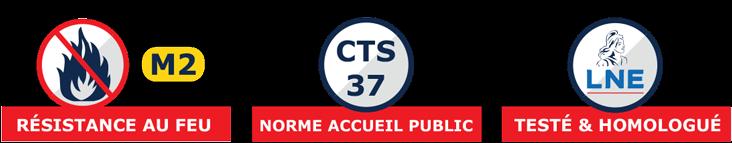 Pour votre sécurité, ce barnum pliant répond à la norme CTS37, est certifié M2 et a été testé par le Laboratoire Nationale de metrologie et d'Essais