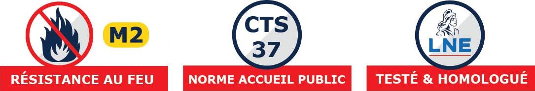 Pour votre sécurité, cette tente de réception répond à la norme CTS37, est certifiée M1 pour les murs et M2 pour le toit, et a été testé par le Laboratoire Nationale de metrologie et d'Essais