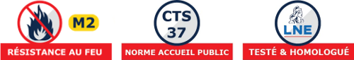 Pour votre sécurité, cette tente de réception répond à la norme CTS37, est certifiée M2 et Mi et a étée testé par le LNE