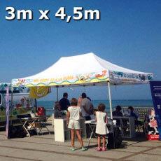 Chapiteau pliant de 3x4,5m Acier Premium personnalisé Vos Héros de BD à la plage