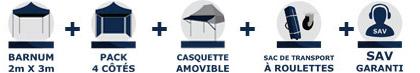Inclus dans la commande de votre barnum tonnelle tente pliante Acier Semi Pro de 2m x 3m avec Pack Côtés et casquette amovible chez France-Barnums