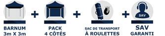barnum pliant Acier Semi Pro de 3m x 3m avec Côtés France-Barnums