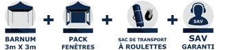 Inclus dans la commande de votre barnum tonnelle tente pliante Acier Semi Pro de 3m x 3m avec Pack Fenêtres chez France-Barnums