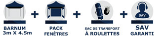 barnum tonnelle tente pliante Acier Semi Pro de 3m x 4,5m avec Pack Fenêtres chez France-Barnums