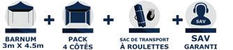 barnum tonnelle tente pliante Acier Semi Pro de 3m x 4,5m avec Pack Côtés chez France-Barnums