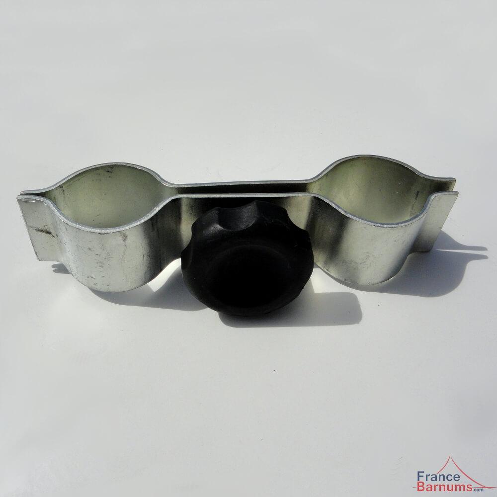 Pièce de connexion pour l'assemblage de deux barnums avec pieds de section hexagonale de diamètre 45mm