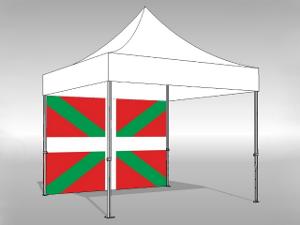 """Paroi latérale pour barnum pliant imprimée """"Drapeau Basque"""" en longueur de 3m"""