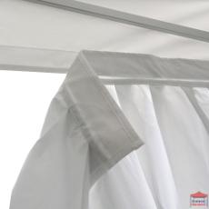 Attache de notre rideau d'angle par un velcro de 4cm de largeur sur le velcro de la bâche de toit de votre tente pliante