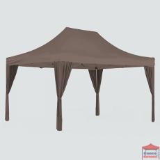 Rideau d'angle couleur taupe pour apporter de l'élégance à votre tente pliante tout en cachant avec charme les pieds de votre structure