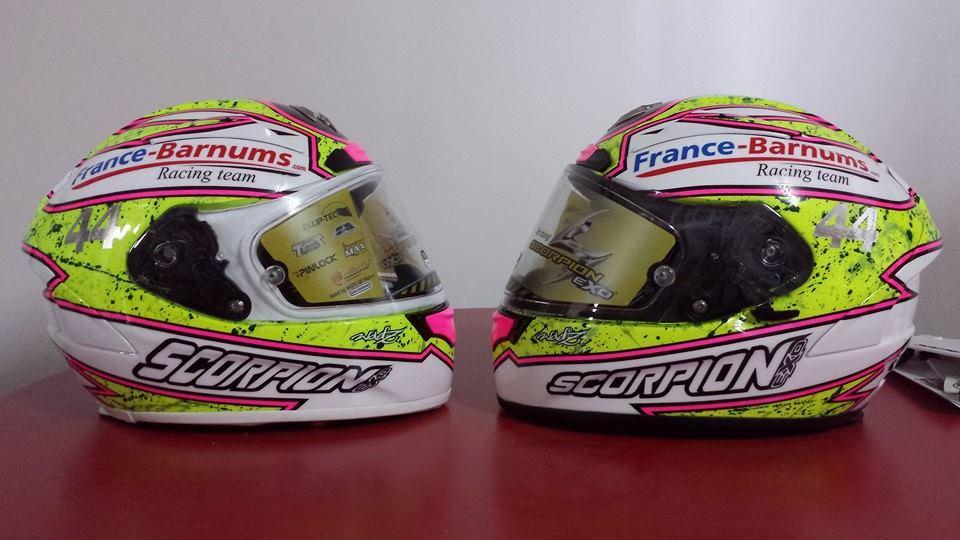 Nouveaux casques du coureur Superbike Lucas Mahias