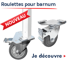 Roulettes pivotantes à frein pour pieds de barnums pliants