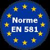 Répond à la Norme européenne EN 581 qui fixe les exigences générales de sécurité des sièges et tables d'extérieur à usages domestique, collectif et de camping.
