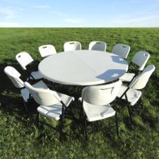 De haute qualité professionnelle, résistante à l'humidité et aux rayons UV, notre table de réception ronde de 160cm est aisément stockable et transportable