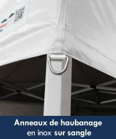 bâche de toit de barnum pliant Acier  est équipée d'anneaux en inox sur sangle pour haubaner votre tente