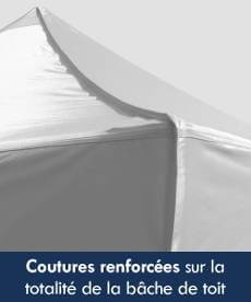 tente pliante événementielle Acier dotée de coutures renforcées sur la totalité de la bâche de toit afin d'assurer une imperméabilité et une résistance maximales