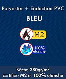 Bâches en Polyester + enduction en PVC 380gr étanches Norme M2