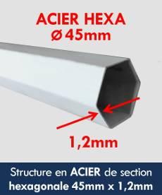 Structure de notre tente pliante Acier Premium en acier avec peinture anti-corrosion de section hexagonale ø45mm et d'épaisseur 1,2mm