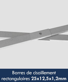 barres de cisaillement ou ciseaux de stand de section rectangulaire de 25x12,5x1,2mm