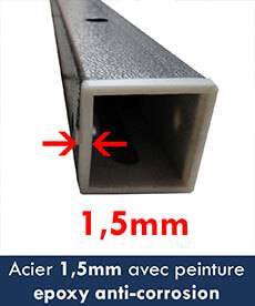 section acier de 1,5mm avec peinture anti-corrosion