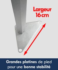 barnums pliants de la Gamme Alu Pro 45  équipés de larges platines de pied pour une meilleure stabilité