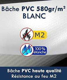 Notre tente pliante Alu pro 55 a une bâche de toit pvc 580gr certifé M2 et 100% étanche