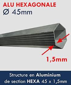 tente pliante Alu Pro 45 ECO à une structure renforcée en alu diamètre 45mmx1,5mm
