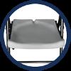 Chaise pliante blanche avec dossier et assise résistants