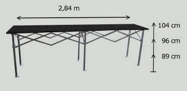 Dimensions de la table comptoir france-barnums.com longueur 2,84m, hauteur 104cm
