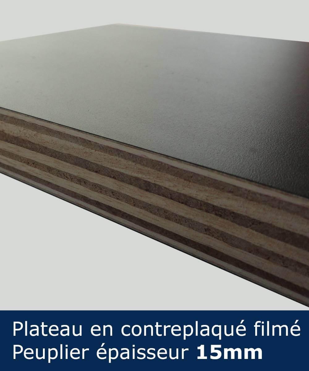 Pateau table comptoir en contreplaqué filmé noir d'une épaisseur de 15mm