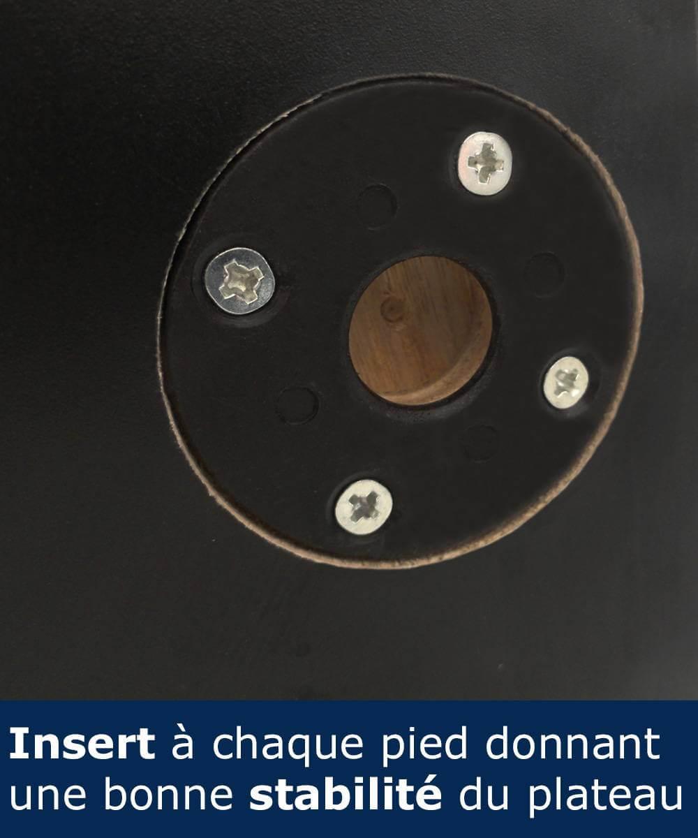 Inserts en polypropylène injecté de haute qualité pour le maintien du plateau sur le piètement de la table comptoir