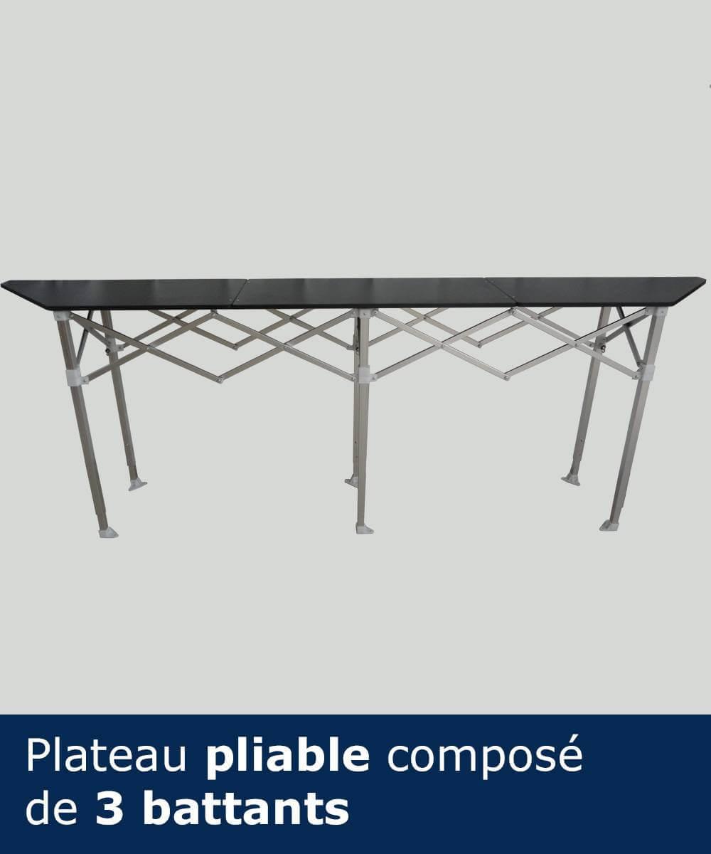 Table-comptoir pliante en aluminium anodisé et plateau bois avec revêtement stratifié noir