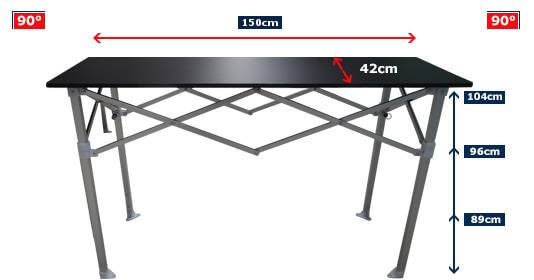 Dimensions de la table comptoir france-barnums.com longueur 1,50m, hauteur 104cm