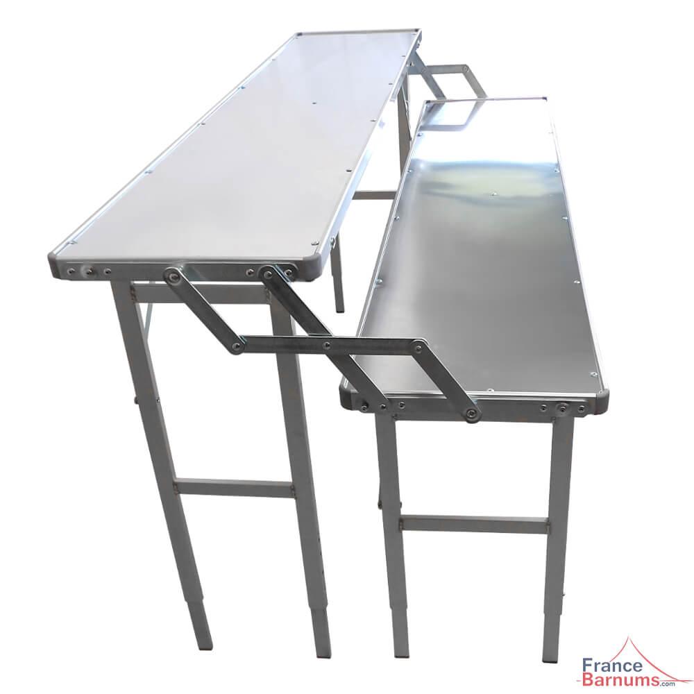 Table Présentoir Pliante à Deux Niveaux En Aluminium De 1