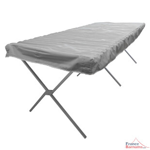 Etalage forain de présentation en aluminium de type lit de camp avec clayettes pour marchés ou expositions