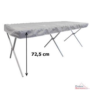 Notre table présentoir de marché pliante en aluminium mesure 72,50 cm de haut