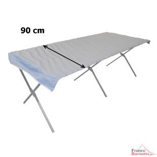 Notre étalage forain pliant de présentation en aluminium mesure 90 cm de profondeur