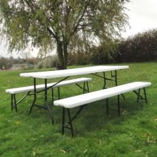 Table rectangulaire de réception pliante en plastique de qualité professionnelle (Polyéthylène Haute Densite HDPE)