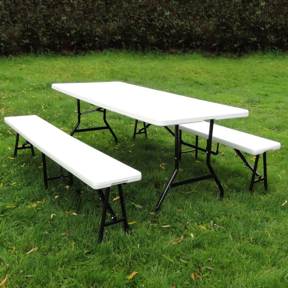 Set Brasserie Table Pliante Et 2 Bancs Pliants 183cm