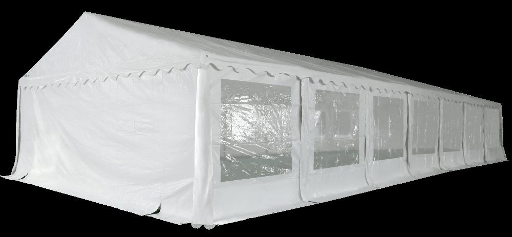 Vue en perspective de notre chapiteau de réception de 6m x 14m avec structure en acier galvanisé à chaud ø50mm x 1,1mm
