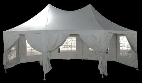 Vue avec 3 portes ouvertes de notre tente de réception octogonale France-Barnums.com
