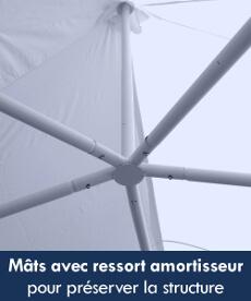 Notre tente de réception octogonale a des mâts munis d'un ressort amortisseur pour préserver la structure