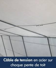 Câble de tension en acier sur chaque pente de toit de notre tente de réception