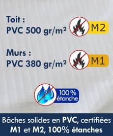 Bâches solides en PVC 100% étanches homologuées Norme M1 et Norme M2