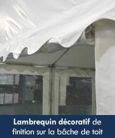 Notre chapiteau de festivités est orné d'un lambrequin décoratif sur tout le pourtour de la bâche de toit