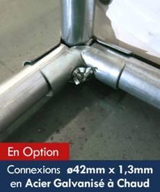Connexions du cadre de rigidification ø42mm x 1,3mm en Acier Galvanisé à Chaud de nos chapiteaux de festivités