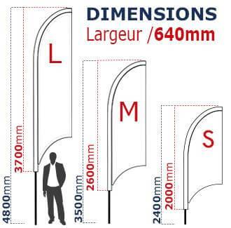 Oriflamme bannière proposée en 3 tailles différentes