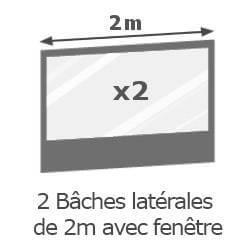 Inclus dans votre colis : Notre Barnum Alu Pro 45 ECO de 2x2m est livré avec ses 2 parois latérales de 2m avec fenêtres