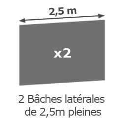 Inclus dans votre colis : Notre Barnum ALU PRO 55 de 5m x 5m est livré avec ses 2 parois latérales pleines de 2,5m